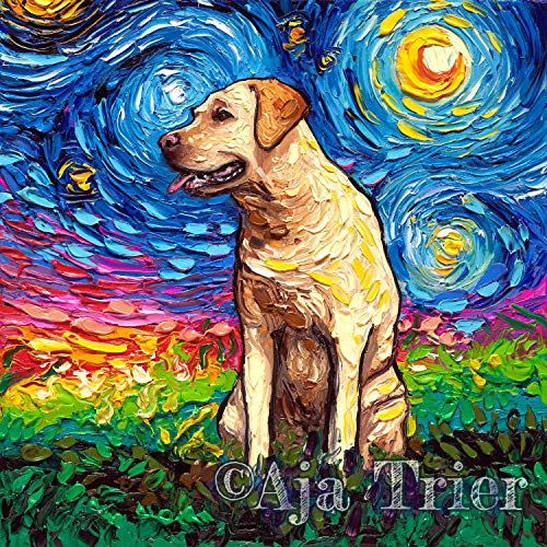 Starry Night Yellow Labrador Art by Aja choose size for sale  Delivered anywhere in USA