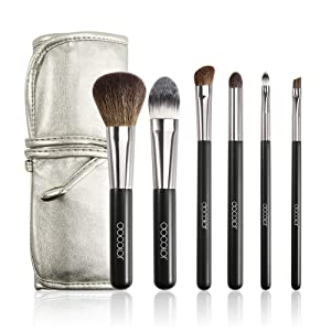 Docolor Makeup Brushes with Case 6Pcs Professional Makeup Brushes Set Premium Goat Hairs Foundation Powder Eyeshadow Blending Smokey Lip Brush Travel Brush Set