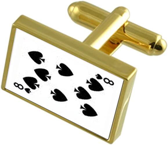 Select Gifts Spades Playing Card Number 6 Gold-Tone Cufflinks Black Pouch