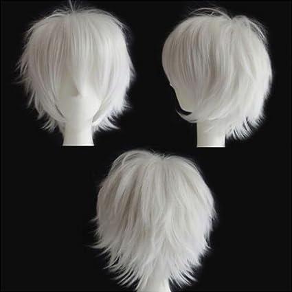 Pelucas Cortas Pelucas Disfraces Mujer Pelucas Cosplay Blanca [ White ] - 12