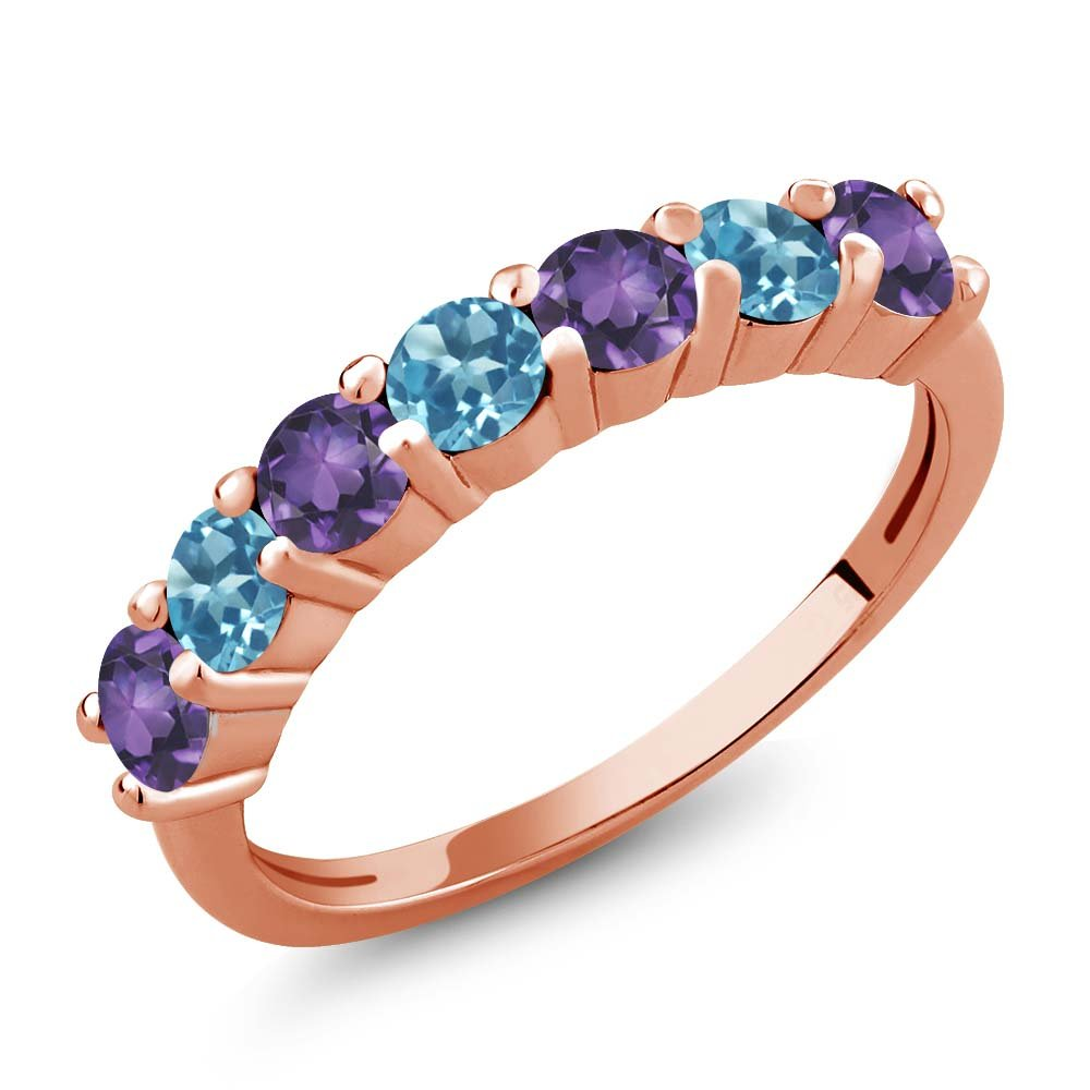 Gem Stone King 1.20 Ct Round Purple Amethyst Swiss Blue Topaz 18K Rose Gold Plated Silver Anniversary Ring