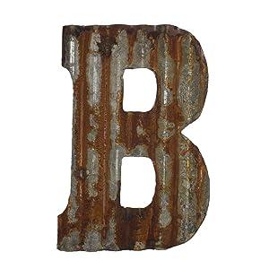 "Farmhouse Rustic 12"" Wall Decor Corrugated Metal Letter -B"