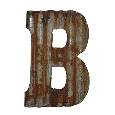 Farmhouse Rustic 12  Wall Decor Corrugated Metal Letter -B