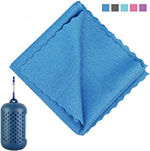 "ZLZB Cooling Towel (12""x32"") Ice Sports Towel, Cooling Quick-Drying Towel for Athletes, Microfiber Towels for Neck with Silicone Case and Carabiner Suitable for Hiking, Camping,Traveling, Gym(Blue)"