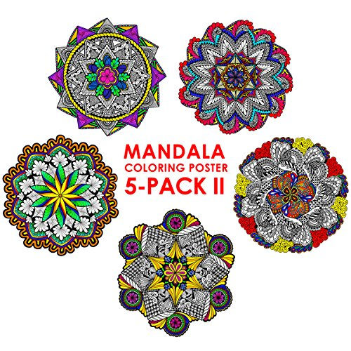 Stuff2Color Mandala Coloring Poster 5-Pack II - 22 x 22 Inch Mandala Coloring -