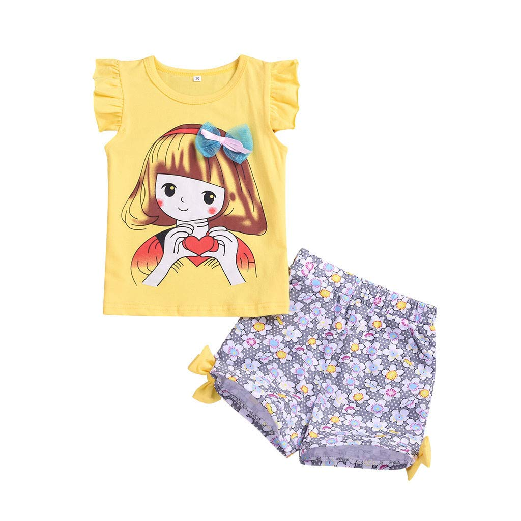 SSZZoo Toddler Baby Kids Girl Summer Set People Cartoon Printed Sleeveless Tops+Floral Shorts Outfits
