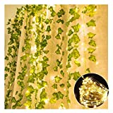 TRvancat Artificial Ivy Garland with Led Light String, 84 Ft 12 Pack Hanging Vines with 100 Lights, Fake Plants Ivy Leaf Greenery Decor for Wedding Home Office