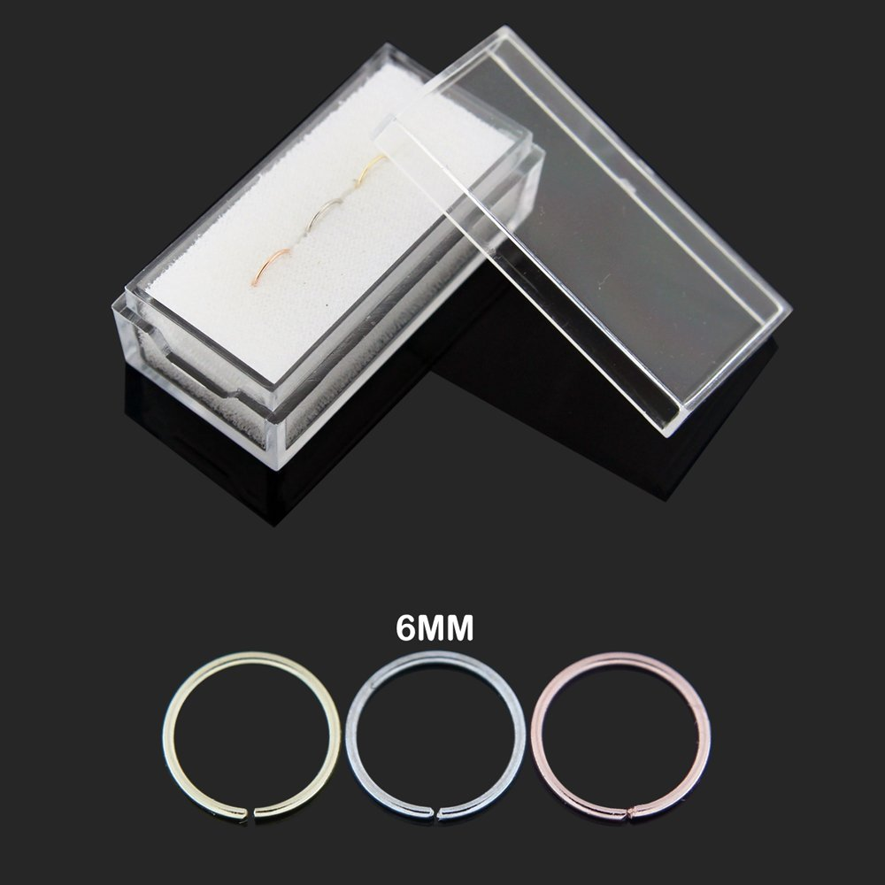 3 Pieces Box set of 14 Karat Solid Gold 20 Gauge - 6MM Length Seamless Continuous Nose Hoop Ring by PiercingPoint (Image #2)