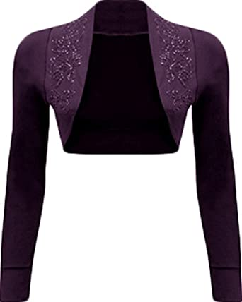 bd9d625e3d Mix lot New Ladies trendy fancy Long Sleeve beaded Shrug Bolero Top ...