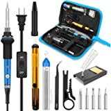 Soldering Iron, Soldering Iron Kit Electronics, 60W Adjustable Temperature Welding Tool, 5pcs Soldering Iron Tip…