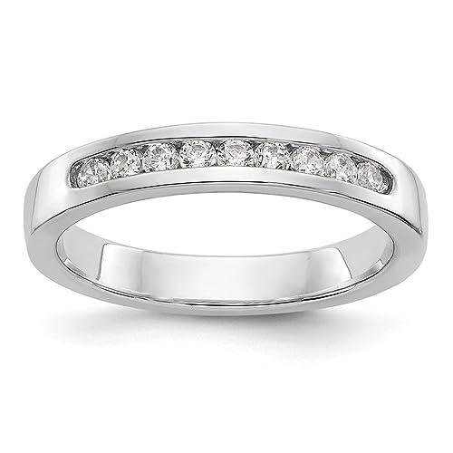 Hielo quilates 14 K oro blanco canal 9 piedra diamante anillos de boda banda novia fina