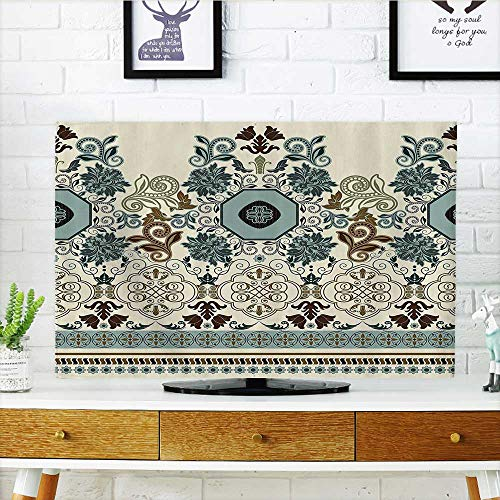 Beige Signature Flap - L-QN Cord Cover for Wall Mounted tv Floralin Royal Style Ornaments with Striped Signature Borders Bathroom Cover Mounted tv W36 x H60 INCH/TV 65