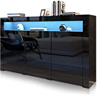 Buffet Sideboard Table Cabinet High Gloss LED Light 3 Doors Storage Cupboard Kitchen Dining Room Modern Furniture 152CM…