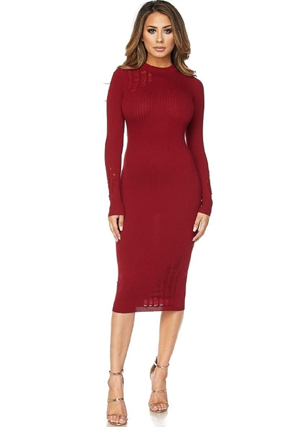4530bad4463 Ribbed Distressed Sweater Dress at Amazon Women s Clothing store