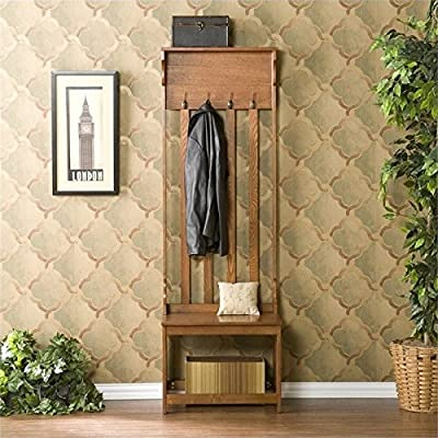 "Pemberly Row Hall Tree Entry Bench in Oak - 24"" W x 18"" D x 72.5"" H Seat - 17"" D x 18"" H Top Shelf - 6"" D - hall-trees, entryway-furniture-decor, entryway-laundry-room - 61ArHkIOZSL. SS400  -"