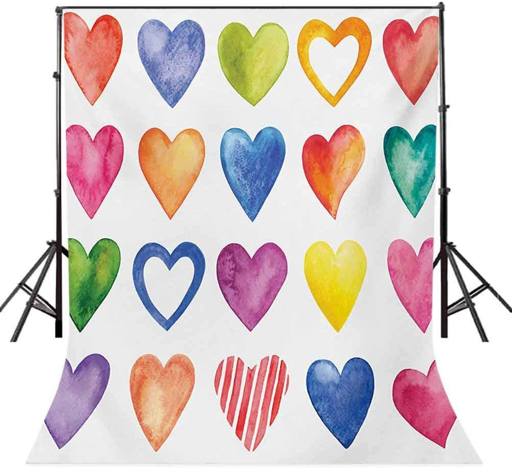 Grunge 10x15 FT Photography Backdrop Rainbow Heart Shapes Love Valentines Day Design Romantic His and Hers Theme Background for Child Baby Shower Photo Vinyl Studio Prop Photobooth Photoshoot