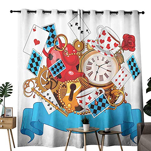 Mannwarehouse Alice in Wonderland Decorations Classical Curtain Mad Design of Cards Clocks Tea Pots Keys Flowers Fantasy World Illustration for Living, Dining, Bedroom (Pair) W108 x L84 Multi ()