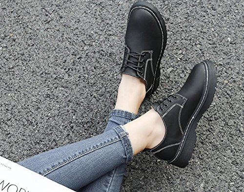 Leather Oxford Shoes Womens Heel Lace Shoes Black Ankle Dress By JiYe Up qtFxF5wAn