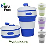 AVALEISURE COLLAPSIBLE CUP, a Reusable, 12 oz, BPA-Free Silicone Travel Mug with Leak-Proof Lid for Hot and Iced Coffee To Go, Tea, Water. Ideal for Camping, Hiking, Outdoors, Commuters