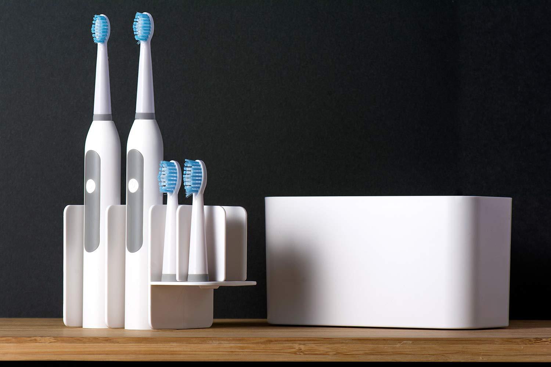 Dispenser da per spazzolino da Denti in plastica Bianco Montaggio a Parete Portaspazzolino,Portaspazzolino Elettrico Organizer da Bagno per