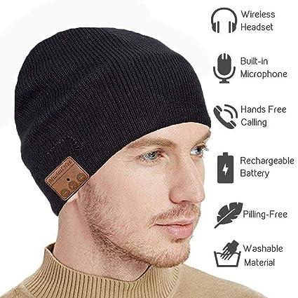 seenlast Wireless Cap Headphone Beanie Music Winter Hat Stereo Speaker   Mic  Hands Free Talking Unisex Knit Headset Fitness Exercise Sports Outdoor 47dbca9431f0