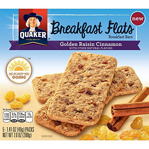 Quaker Breakfast Flats, Golden Raisin Cinnamon, Breakfast Bars-5 Packets Per Box (Pack of 8) Quaker Raisins