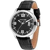 [ポリス]POLICE メンズ ドクトリン シルバーケース ブラック レザー PL14741JS-02 腕時計 [並行輸入品]
