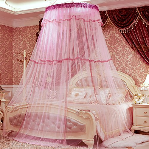 SINOTOP Mosquito Canopy for Queen Bed Double Bed Round Bet Netting Suspend Canopy Bed Mosquito Crib (Pink)