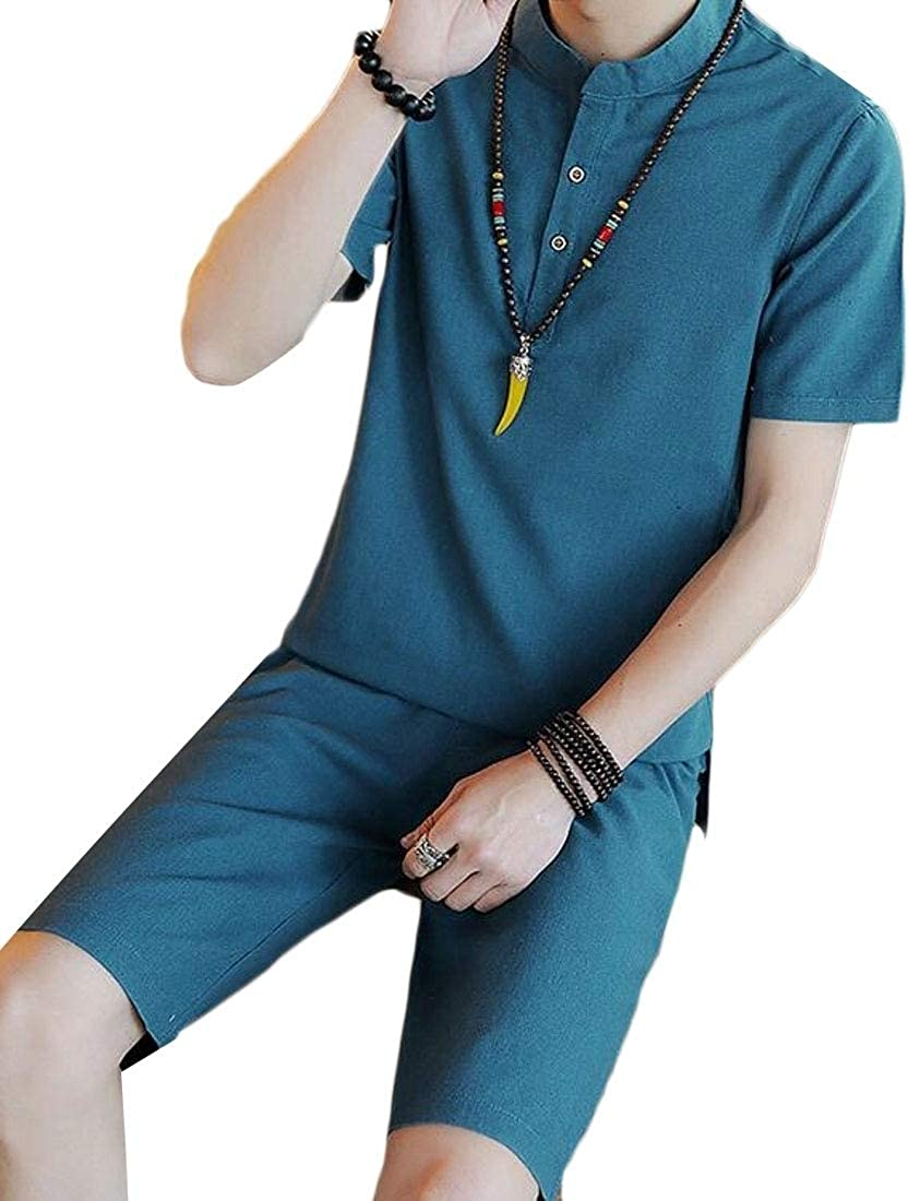 MOUTEN Men Casual Linen Chinese Style Shirts 2 Pieces Shorts Tracksuit Set