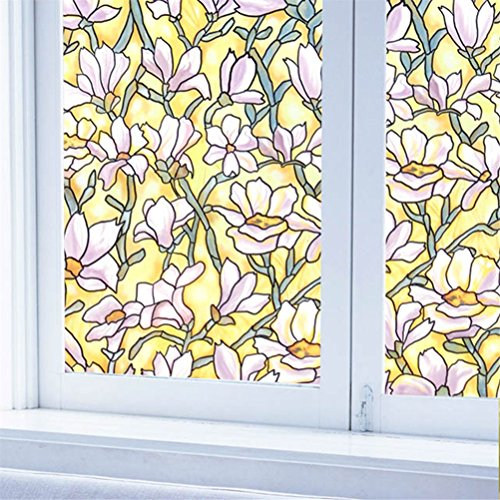 Fofon No Glue Stained Glass Window Film Privacy Static Vinyl Cling Opaque Window Films Perfect For Bathroom Shower Room Home Decoration (17.71 By 78.74 Inches)