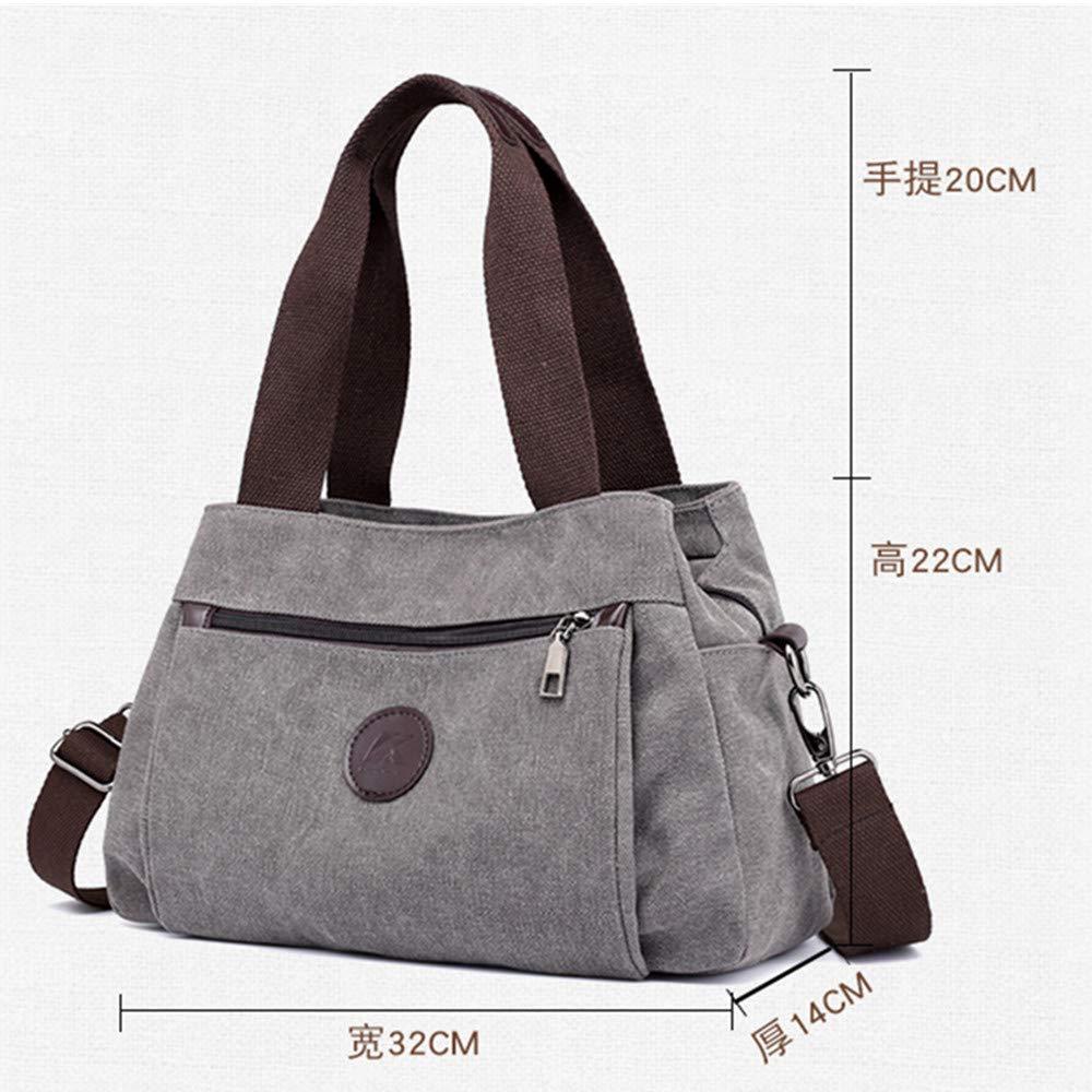 RTYUI Mode vardaglig tygväska solida handväskor kvinnor messengerväskor damer kanvas axelväskor mumieväskor kanvas axelväska 32 x 14 x 22 cm/grå Grått