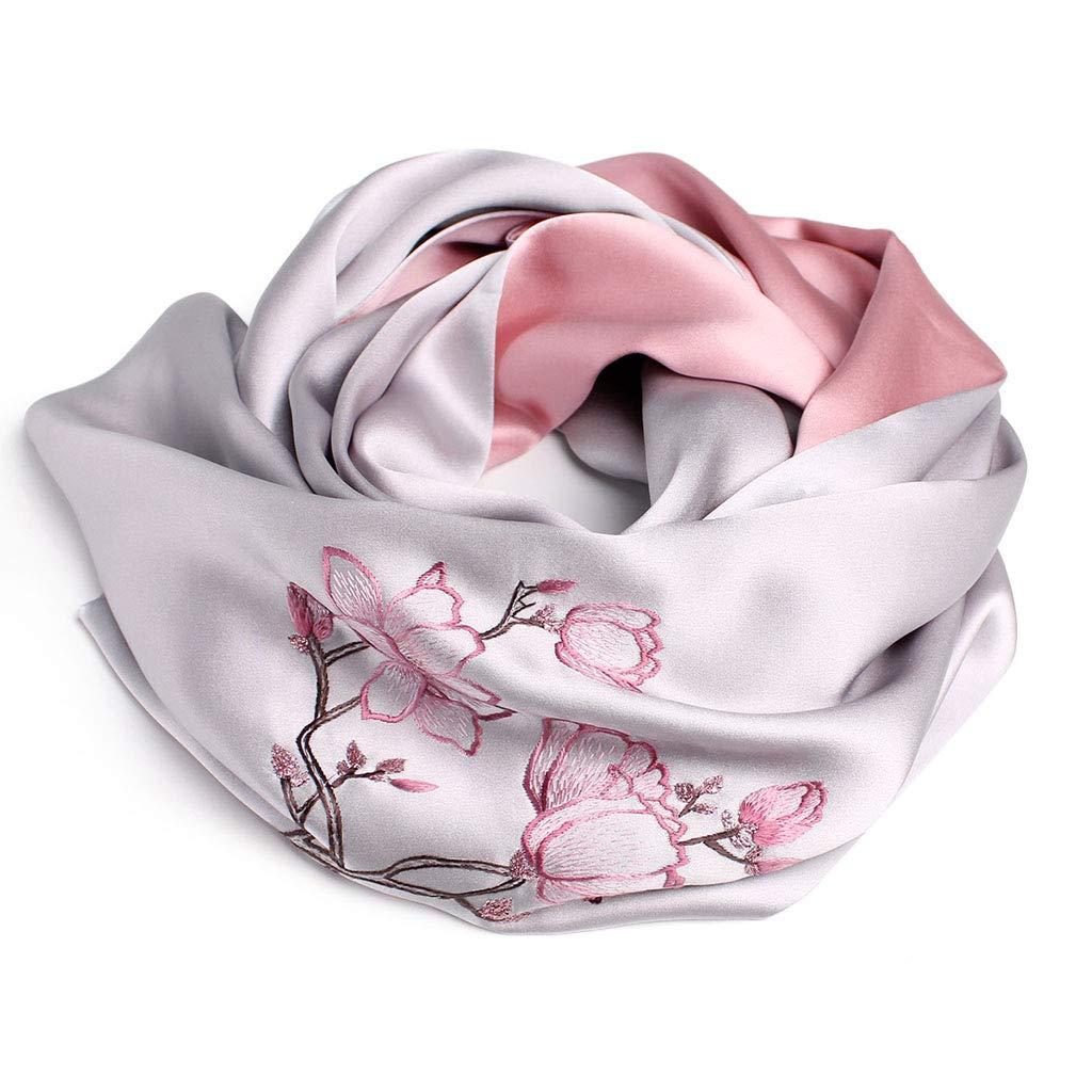 I Stoles Scarf Silk Shawl Scarf Spring and Autumn Winter Shawl Scarf Ladies Silk Embroidery Shawl (color   F, Size   155  35cm)