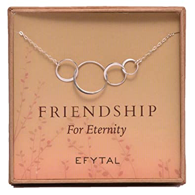 Amazon EFYTAL Four Friend Necklace Sterling Silver Friendship Interlocking Infinity Circles Gift 4 Best Friends Group 40th Birthday Present Jewelry