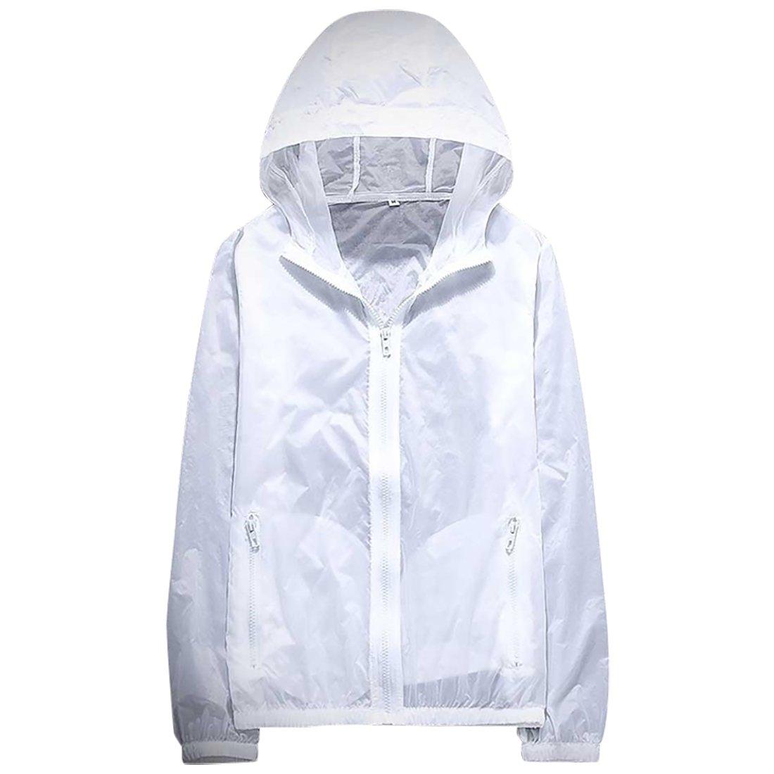 Panegy Unisex Sunscreen Hoodie Jacket Lightweight Drys Quickly Zipper Breathable Sunblock Suit Rain Coat White XX Large