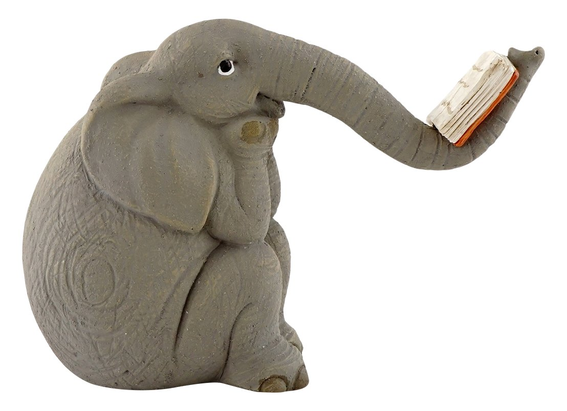 Top Collection Miniature Garden Elephant Reading Book