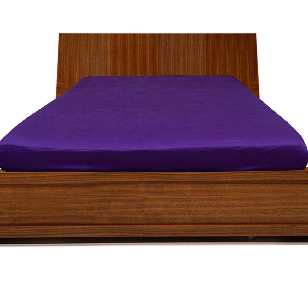 Relaxare Olympic Queen 300TC 100% Egyptian Cotton Purple Solid 1PCs Fitted Sheet Solid (Pocket Size: 20 inches) - Ultra Soft Breathable Premium Fabric
