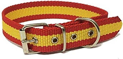 Global Collar de Perro Bandera de España | Collar de Perro de Nailon con Refuerzo en Piel | Collar 35 cms: Amazon.es: Productos para mascotas