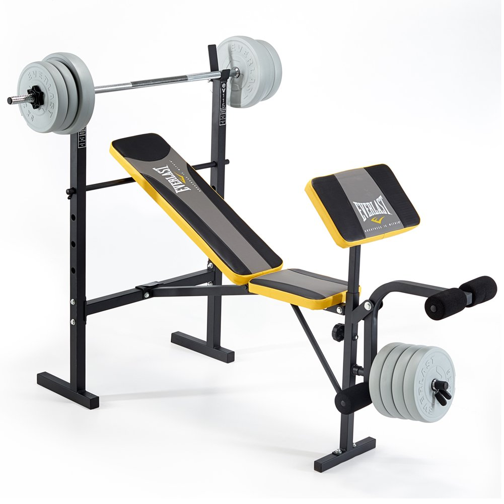 Everlast EV115 Starter Bench and Weights - Grey/Yellow: Amazon.co.uk:  Sports & Outdoors