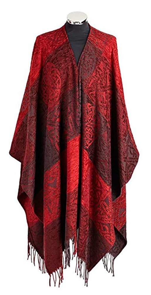 """Calzeat Irish Ruana Wool & Chenille 59"""" x 78 ¾"""" Garnet Red Made in Scotland"""