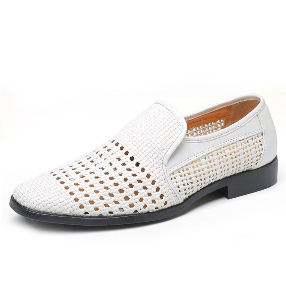 XIAOLONGY Verano De Los Hombres De Negocios Nuevos Zapatos De Vestir Transpirables Agujero Sandalias De Cuero Sandalias De La Armadura del Sacador,White-44 44|white
