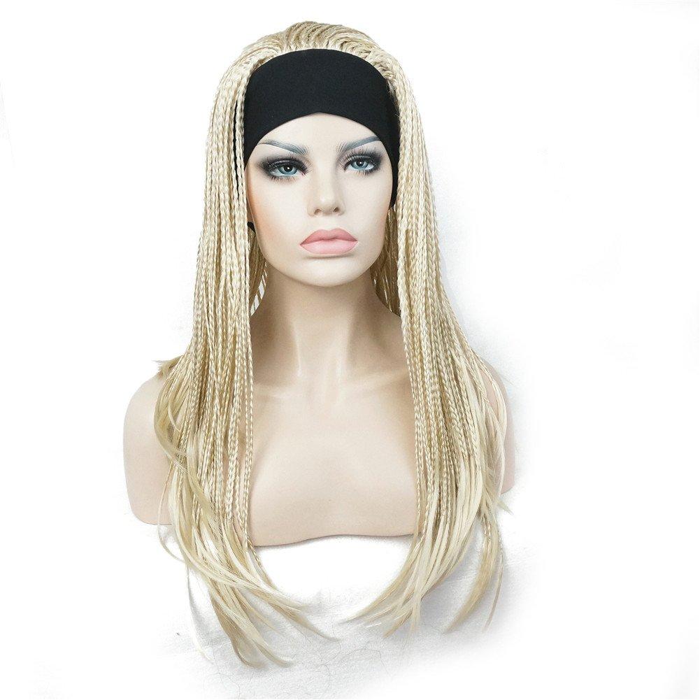 Amazon Com Aimole Long Braided Wigs Crochet Hair Fully Hand Tied Twist Braided With Headband Half Wig 613 Pale Blonde Beauty