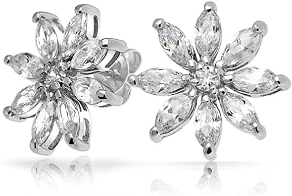 Flower Stud Earrings 925 Sterling Silver Cubic Zirconia CZ