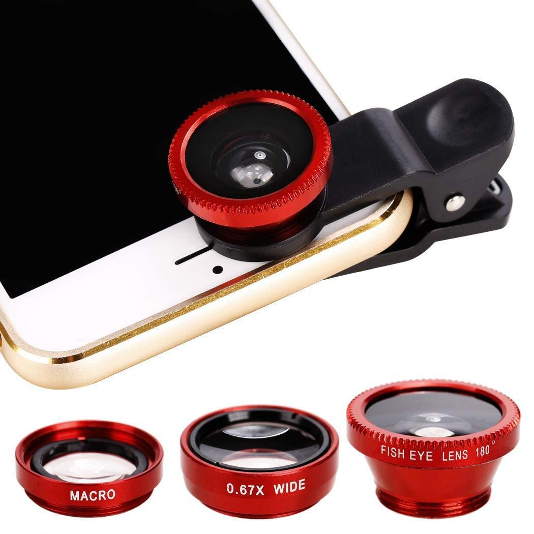 3 in1 Fisheye Wide Angle Macro Camera Lens Kit Clip On for Mobile Cell Phone (Yellow) Gonikm