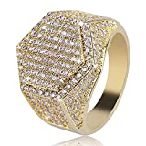 JINAO Iced Out CZ Hexagon Mens Bling Ring Hip Hop (Gold, 11)