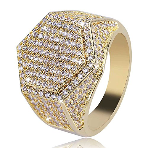 JINAO Iced Out CZ Hexagon Mens Bling Ring Hip Hop (Gold, 11) by JINAO