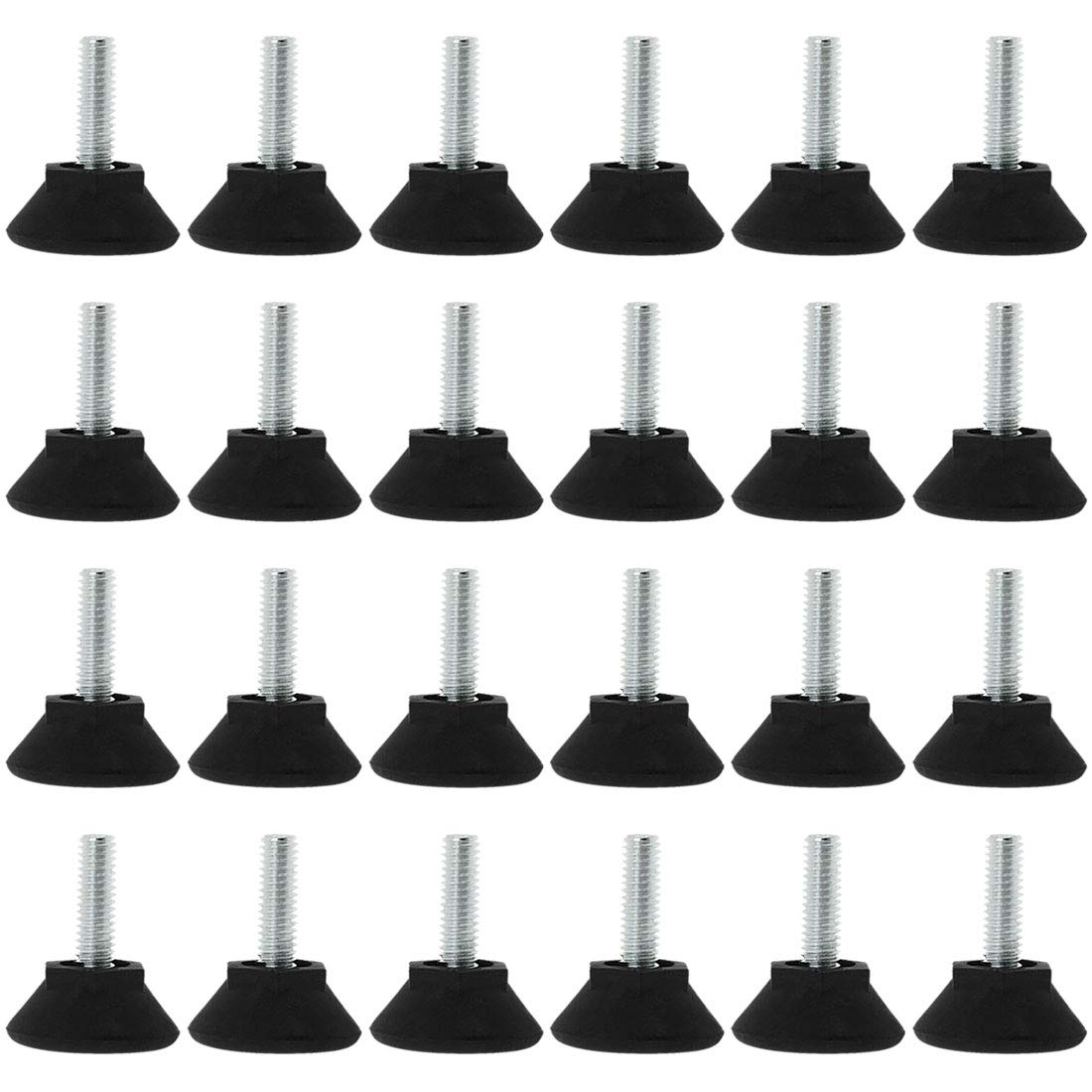 uxcell M6 x 20 x 25mm Furniture Glide Leveling Feet Adjustable Leveler Floor Protector for Chair sofa Table Leg 24 Pack