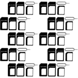 (10 Pack) New Nano Sim Adapter and Micro Sim Adapter and Nano to Micro Adapter with Sim Eject Pin Needle - Black (10 Pack)