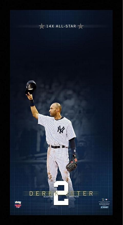 MLB New York Yankees Derek Jeter 14 Time All Star Blueprint To Greatness 10x20 Framed Collage