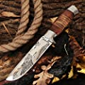 Grand Way Hunting Knife - Decorative Fixed Blade Knife - Classic Stainless Steel Hunting Knife with Wood Handle FB 1865
