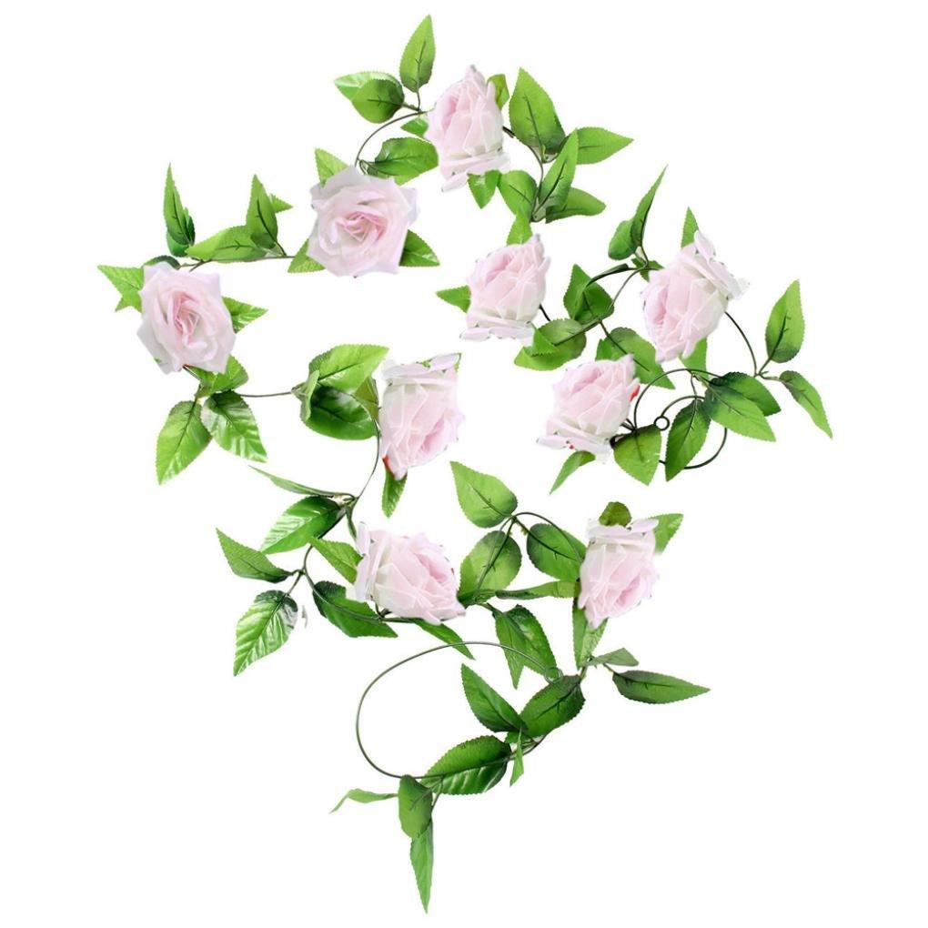 Koolee 1 x 9 Ft Artificial Silk Rose Flower Ivy Vine Leaf Garland Wedding Party Garlands (Pink)
